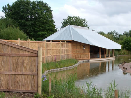 Timber Bird Hide with reed fencing