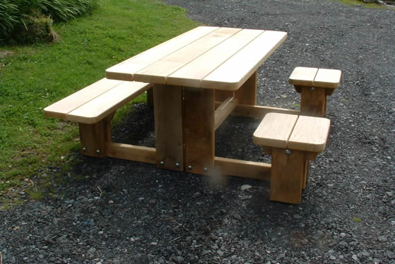 Outdoor Wooden table with wheelchair access